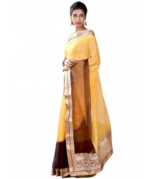 Eye Catching Yellow & Brown Designer Collection Saree MDL-S-SR1-019
