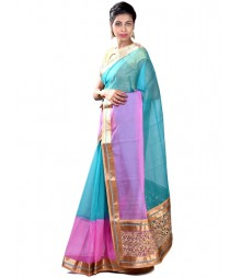 Elegant Sky Blue & Pink Designer Collection Saree MDL-S-SR1-022