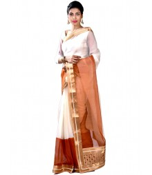 Ravishing White & Brown Designer Collection Saree MDL-S-SR1-026