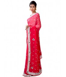Red Color Hand Zari Work Pure Georgette Saree MDL-S-SR1-031