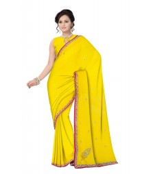 Yellow Zari Work Hand Embroidered Chiffon Blend Saree ODA002