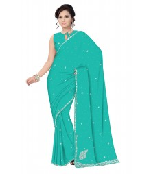 Green Self Design Zari Work Embroidered Chiffon Saree ODA004