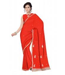 Red Self Design Zari Work Hand Embroidered Chiffon Saree ODA005