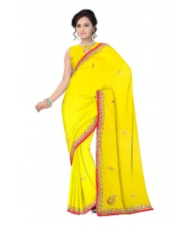 Yellow Self Design Zari Work Hand Embroidered Chiffon Saree ODA007