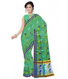 Green Color Traditional Banarasi Designer Silk Saree ODA018