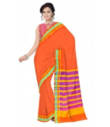 Rust Colour Traditional Designer Cotton Silk Saree ODA025