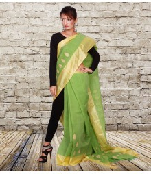 Green Self Designer Cotton Saree TJA003