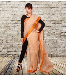 Orange Colour Self Designer Cotton Saree TJA004