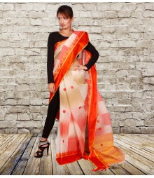 Orange & Off-White Colour Self Designer Cotton Saree TJA006