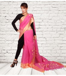 Pink Colour Self Designer Cotton Saree TJA007
