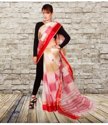 Red & Off White Colour Self Designer Cotton Saree TJA009