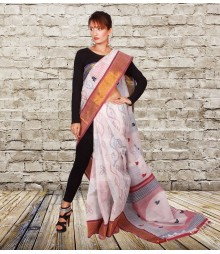 Off White & Red Colour Self Designer Cotton Saree TJA010