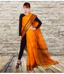Orange Colour Self Designer Cotton Saree TJA013