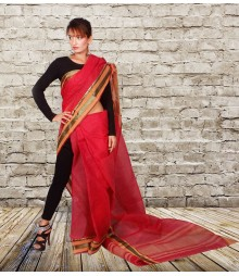 Red Colour Self Designer Cotton Saree TJA014