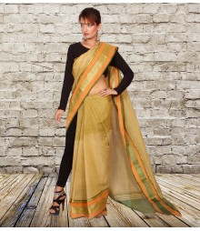 Burnt Yellow Colour Self Designer Cotton Saree TJA015
