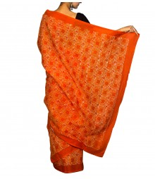 Orange & White Colour Self Designer Saree TJA021