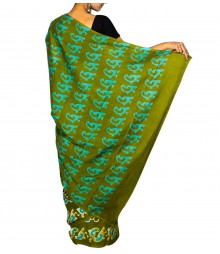 Green & Aqua Blue Colour Self Designer Saree TJA023
