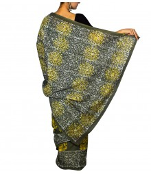 Café Gray & Yellow Colour Self Designer Saree TJA024