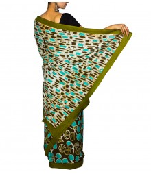 Deep Green & Blue Colour Self Designer Saree TJA026