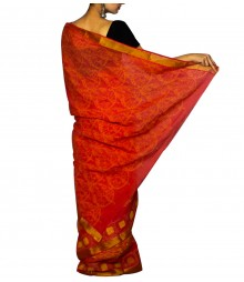Red & Yellow Colour Self Designer Saree TJA027