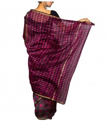 Brown & Magenta Colour Self Designer Saree TJA028
