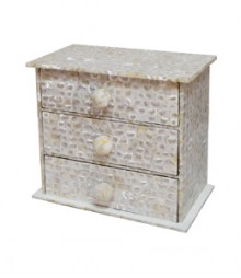 Chest of 3 Drawers of White Mother of Pearl OH-CODRS3