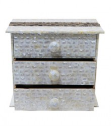 Chest of 3 Drawers of White Mother of Pearl & Tadiwood Band OH-CODRSTB3