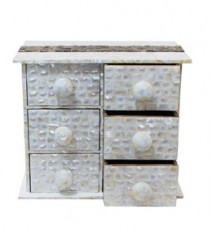 Chest of 6 Drawers of White Mother of Pearl & Taadiwood Band OH-CODRSTB6