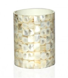 ToothBrusg Holder / Glass / Tumbler of White Mother of Pearl OH-GRS