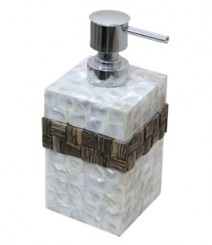 Soap Dispenser of White Mother of Pearl & Taadiwood Band OH-SDPRST