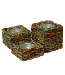 Tea Light Set of 3 of Bangle Mosaic OH-TL123BM
