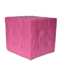Buy Pink Togo Leatherette Pouf Online - IND-PF-003