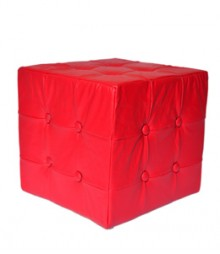 Buy Red Togo Leatherette Pouf Online - IND-PF-005