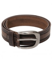 Genuine Leather Brown Dotted Design Belt B-1263