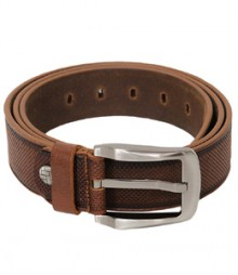 Genuine Designer Leather Brown Dotted Belt B-1272