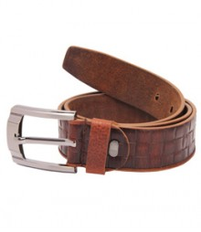 Genuine Designer Brown Leather Check Belts B-1276