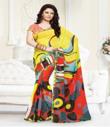 Sizzling Yellow Red coloured Mix Chiffon Ethnic Casual Wear Saree