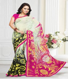 Pleasing Off White coloured Mix Georgette Ethnic Casual Wear Saree