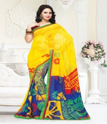 Charming Yellow coloured Mix Georgette Ethnic Casual Wear Saree