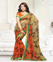 Gorgeous Orange coloured Mix Georgette Ethnic Casual Wear Saree