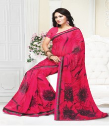 Enthralling Magenta coloured Mix Georgette Ethnic Casual Wear Saree