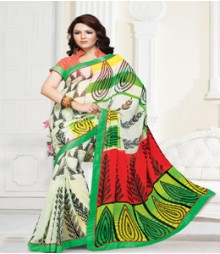 Stunning White Green coloured Mix Chiffon Ethnic Casual Wear Saree