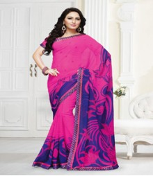 Captivating Pink Blue coloured Mix Georgette Ethnic Casual Wear Saree