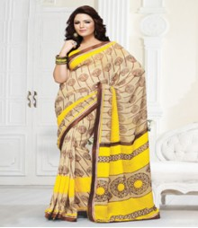 Charming Yellow Brown coloured Mix Georgette Ethnic Casual Wear Saree
