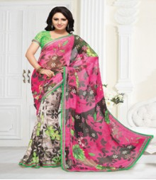 Graceful Pink Green coloured Mix Chiffon Ethnic Casual Wear Saree