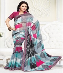 Beautiful Blue Pink coloured Mix Georgette Ethnic Casual Wear Saree