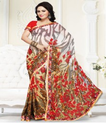 Simplistic White Beige coloured Mix Chiffon Ethnic Casual Wear Saree