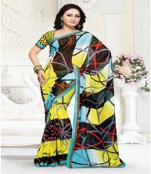 Dainty Multi coloured Mix Chiffon Ethnic Casual Wear Saree