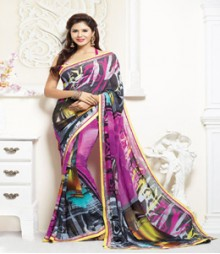 Gorgeous Multi coloured Faux Georgette Ethnic Casual Wear Saree