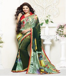 Enticing Green coloured Faux Georgette Ethnic Casual Wear Saree